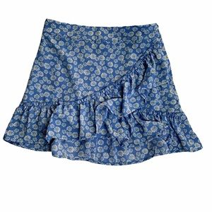 Forever 21 Blue Floral Daisy Ruffle Skirt Size S